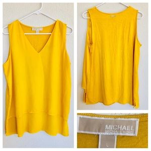 Michael Kors yellow layered blouse size L